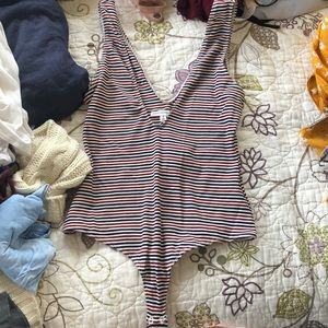 Blue and red and white striped bodysuit